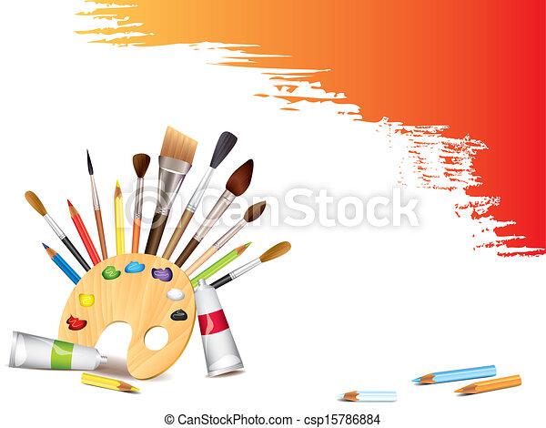 Herramientas de arte y manchas grunge - csp15786884