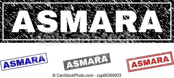 Grunge ASMARA Textured Rectangle Stamps - csp66369933