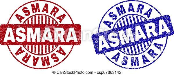 Grunge ASMARA Textured Round Stamp Seals - csp67863142