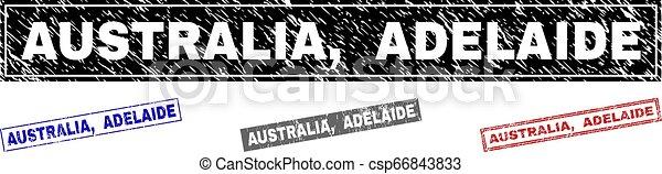 Grunge AUSTRALIA, ADELAIDE Textured Rectangle Stamp Seals - csp66843833