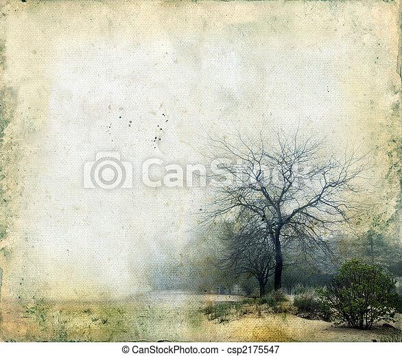 grunge, bäume, hintergrund - csp2175547