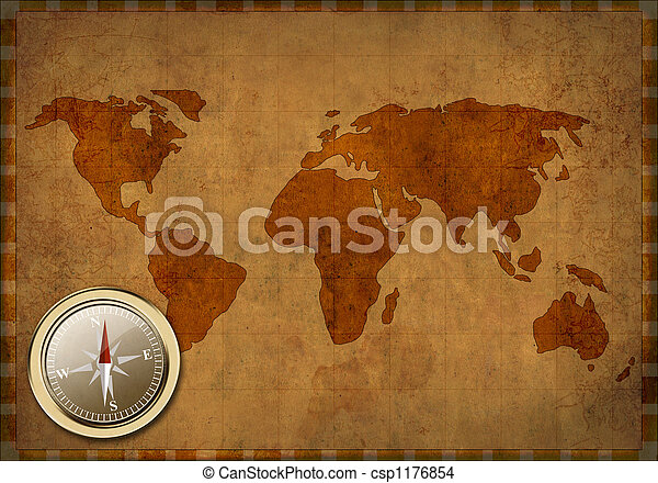 Grunge background - ancient map of the world - csp1176854
