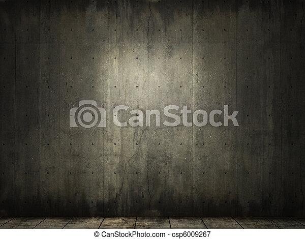 grunge background of concrete room - csp6009267