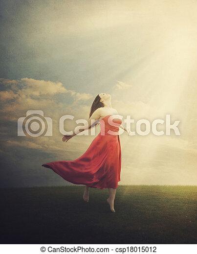 Grunge background praising woman - csp18015012