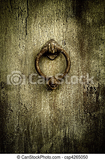 Grunge Background   Rusty Antique Door Knocker   Csp4265050
