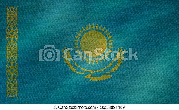 Grunge background with flag of Kazakhstan. - csp53891489