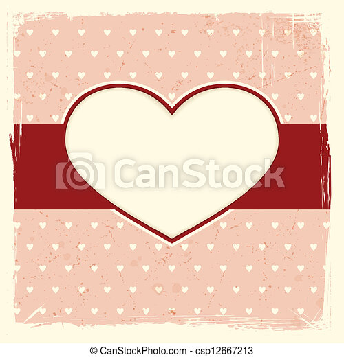 Grunge background with heart frame - csp12667213