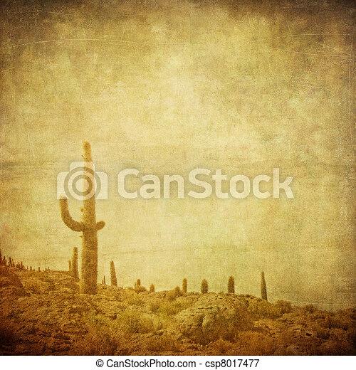grunge background with wild west landscape  - csp8017477