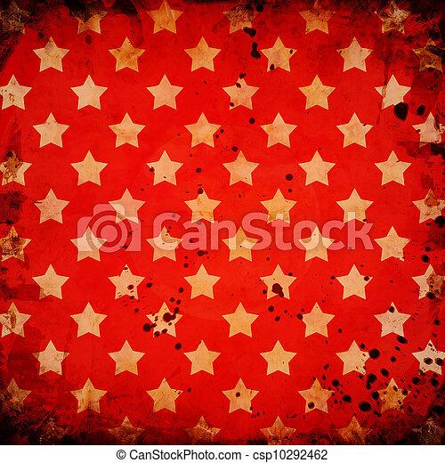 grunge, bakgrund, stjärnor, röd - csp10292462