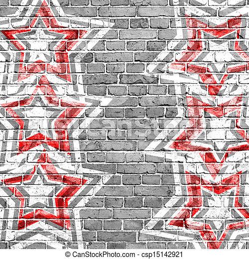 grunge, bakgrund, stjärnor, röd - csp15142921