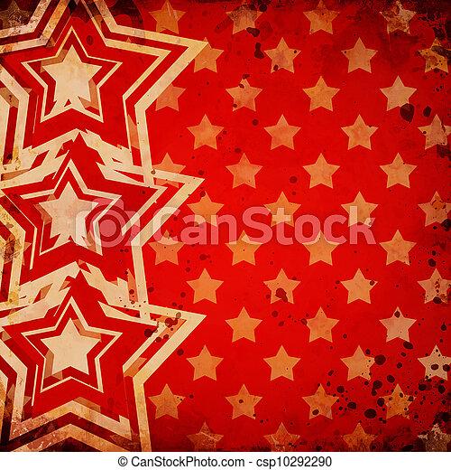 grunge, bakgrund, stjärnor, röd - csp10292290