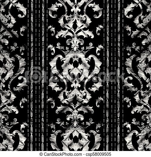 Grunge Baroque Striped Seamless Pattern Vector Tapestry Background