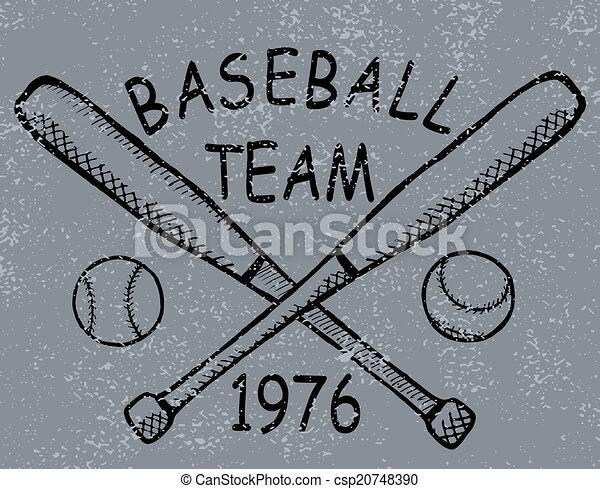 Grunge baseball design t-shirt Printing. Vector - csp20748390
