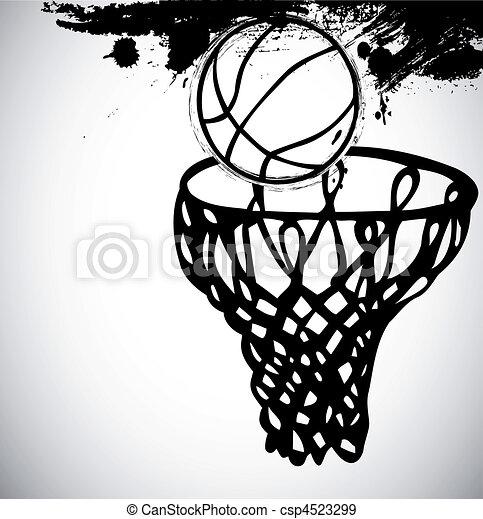 Grunge basketball background. Vector - csp4523299