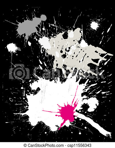 grunge black background with splats - csp11556343