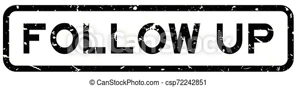 Grunge black follow up word square rubber seal stamp on white background - csp72242851