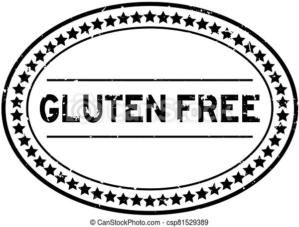 Grunge black gluten free word oval rubber seal stamp on white background - csp81529389