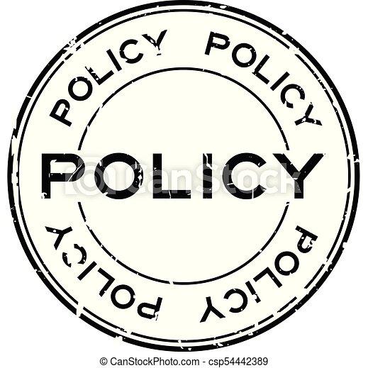 Grunge black policy word round rubber seal stamp on white background - csp54442389