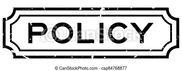 Grunge black policy word square rubber seal stamp on white background - csp84768877