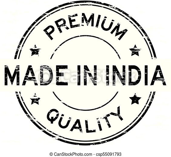 Grunge black premium quality made in India round rubber stamp - csp55091793