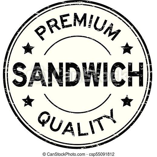 Grunge black premium quality sandwich round rubber stamp - csp55091812