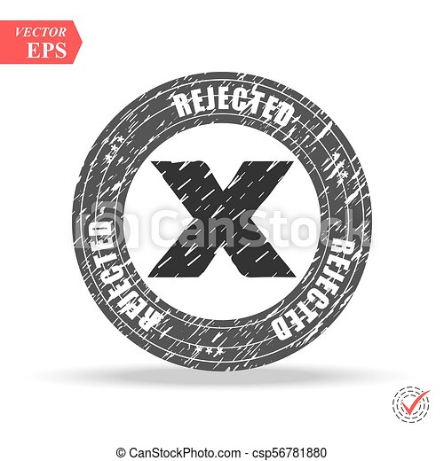Grunge black rejected round rubber seal stamp on white background - csp56781880