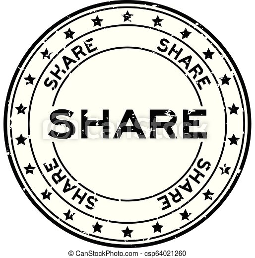 Grunge black share word with star icon round rubber seal stamp on white background - csp64021260