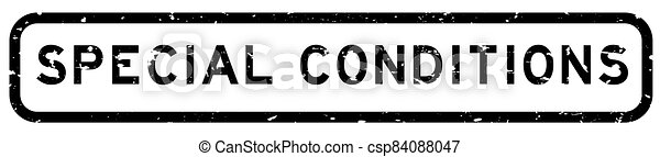 Grunge black special conditions word square rubber seal stamp on white background - csp84088047