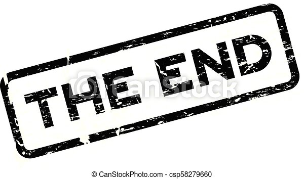 Grunge black the end square rubber seal stamp on white background - csp58279660