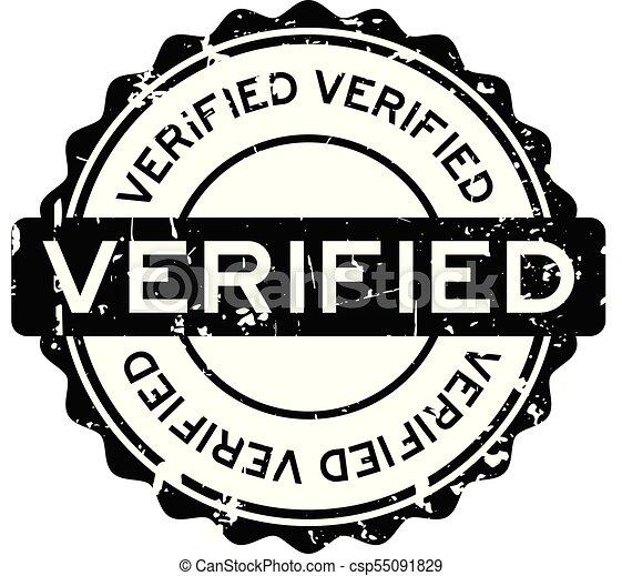 Grunge black verified round rubber seal stamp - csp55091829
