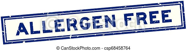 Grunge blue allergen free word square rubber seal stamp on white background - csp68458764