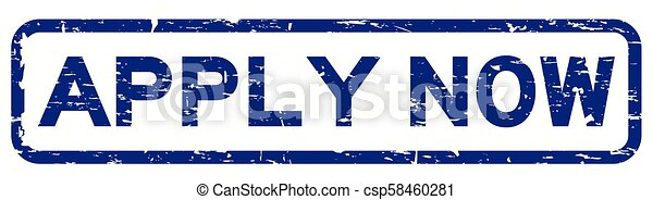 Grunge blue apply now square rubber seal stamp on white background - csp58460281