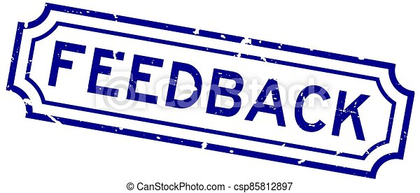 Grunge blue feedback word rubber business seal stamp on white background - csp85812897