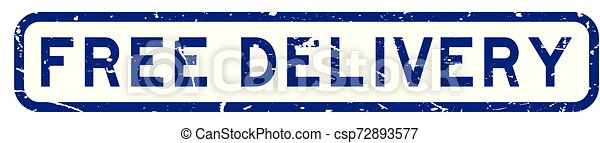 Grunge blue free delivery wording square rubber seal stamp on white background - csp72893577