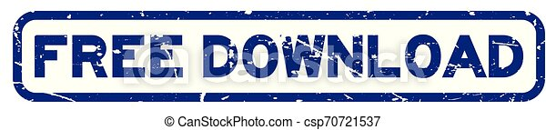 Grunge blue free download square rubber seal stamp on white background - csp70721537