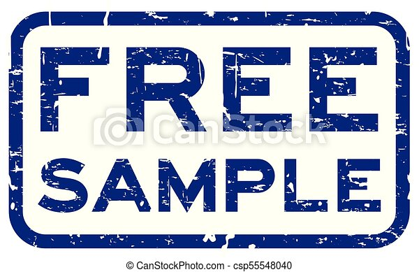 Grunge blue free sample square rubber seal stamp on white background - csp55548040