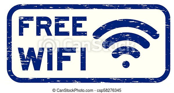 Grunge blue free wifi with signal icon square rubber seal stamp - csp58276345