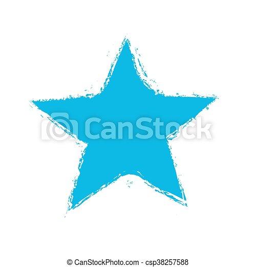 grunge blue star symbol, vector - csp38257588