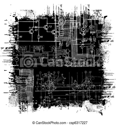 Grunge blueprint abstract technical drawing in grunge black grunge blueprint csp6317227 malvernweather Image collections
