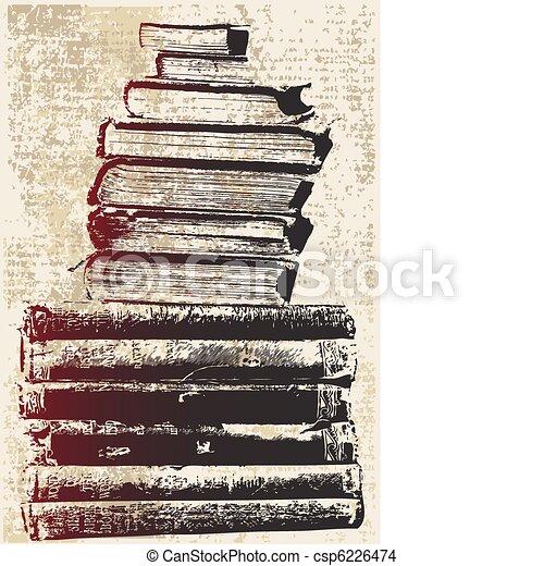 Grunge Book Stack - csp6226474
