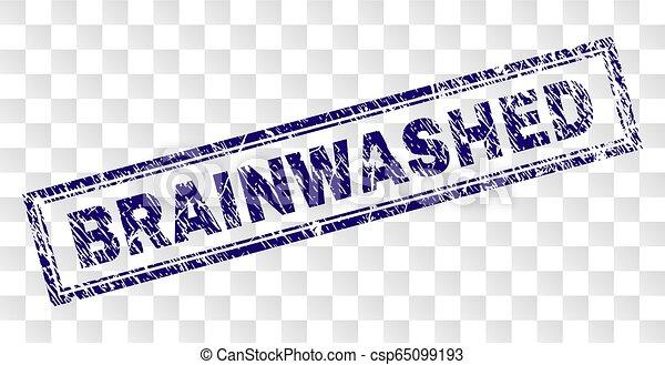 Grunge BRAINWASHED Rectangle Stamp - csp65099193