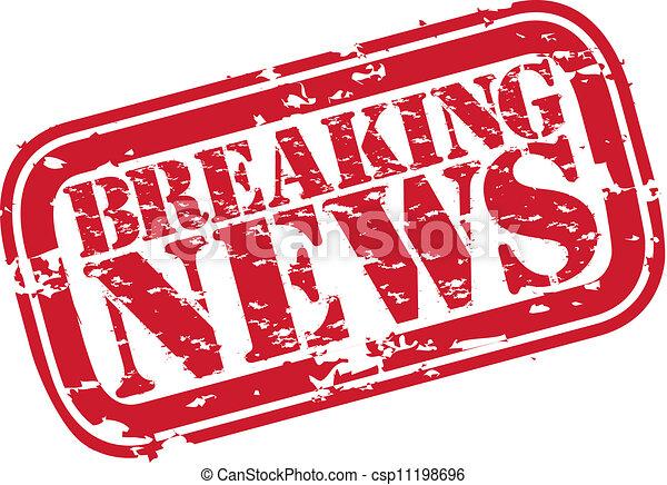 Grunge Breaking News Rubber Stampv