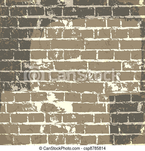 Grunge brick wall background for your message. Vector, EPS10 - csp8785814