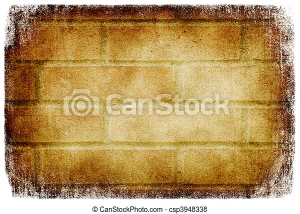 Grunge brick wall background, isolated on white. - csp3948338