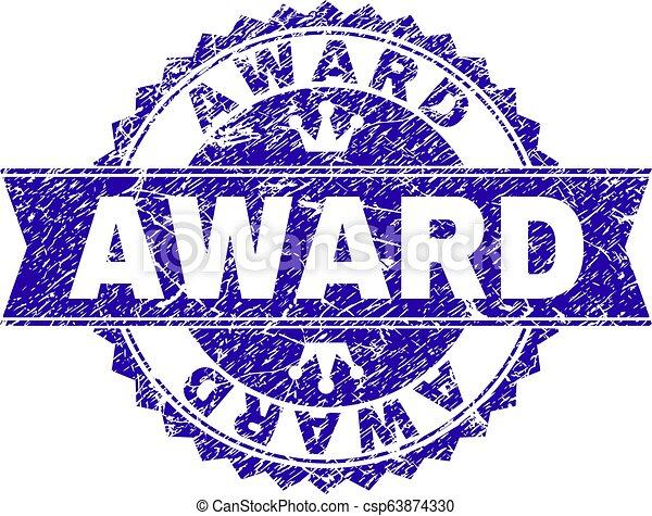 Grunge Textur AWARD Stempelsiegel mit Band - csp63874330
