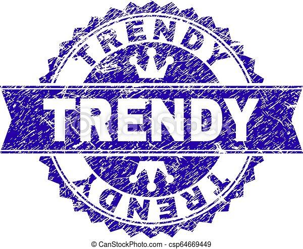 Grunge Textur TRENDY Stempel Siegel mit Band - csp64669449