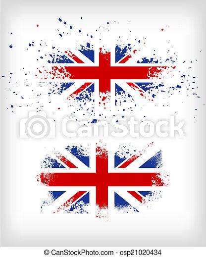 grunge, brits, splattered, vlag, inkt - csp21020434