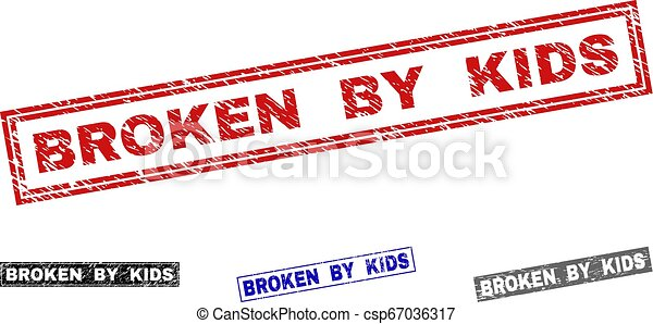 Grunge BROKEN BY KIDS Textured Rectangle Stamp Seals - csp67036317