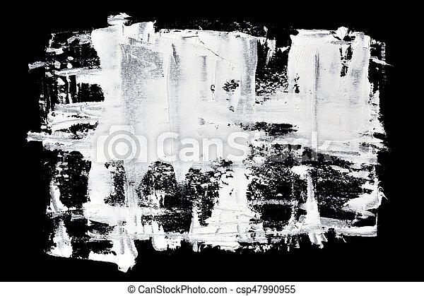 Grunge brush strokes of white oil paint - csp47990955