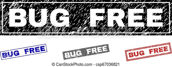 Grunge BUG FREE Scratched Rectangle Stamps - csp67036821